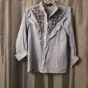 Button down with ruffle and floral embroidery